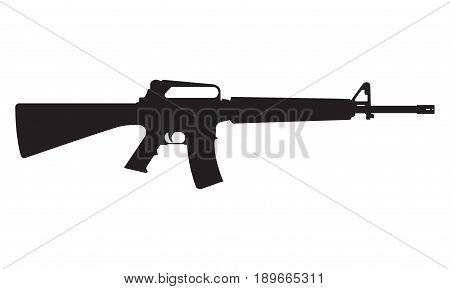 M16 icon. M16 machine gun black silhouette. Vector illustration.