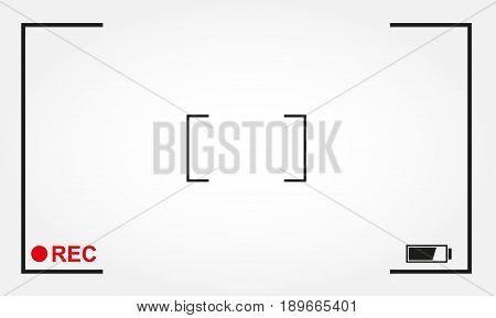 Camera focus frame with rec label. Camera viewfinder background design. Vector illustration.