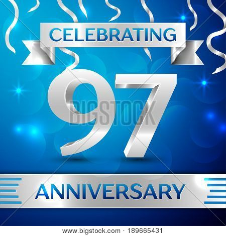 Ninety seven Years Anniversary Celebration Design. Confetti and silver ribbon on blue background. Colorful Vector template elements for your birthday party. Anniversary ribbon