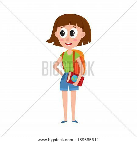 Young pretty woman, tourist with backpack and guide on vacation tour, cartoon vector illustration isolated on white background. Full length portrait of young woman, girl tourist on sightseeing tour