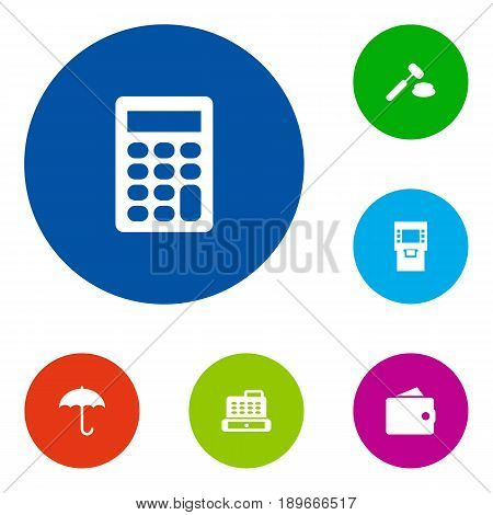 Set Of 6 Finance Icons Set.Collection Of Umbrella, Cashbox, Purse And Other Elements.