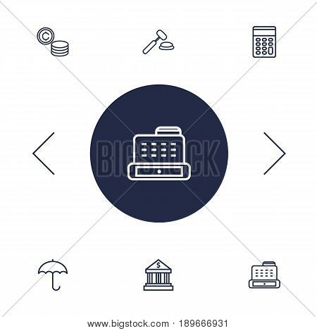 Set Of 6 Budget Outline Icons Set.Collection Of Calculator, Bank, Protect And Other Elements.