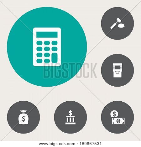 Set Of 6 Budget Icons Set.Collection Of Money, Terminal, Judge And Other Elements.