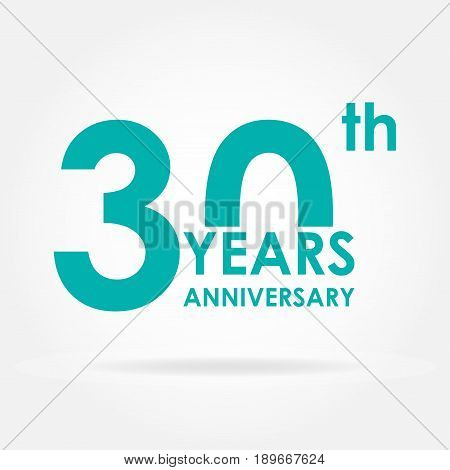 30 years anniversary icon. Template for celebration and congratulation design. Flat vector illustration of 30th anniversary label.