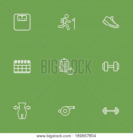 Set Of 9 Fitness Outline Icons Set.Collection Of Calendar, Trekking Shoes, Diet And Other Elements.