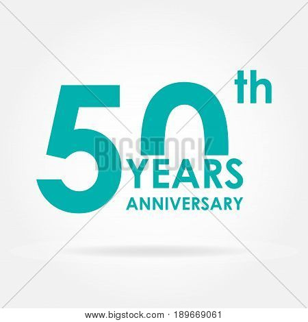 50 years anniversary sign or emblem. Template for celebration and congratulation design.  Flat vector illustration of 50th anniversary label.