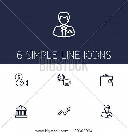 Set Of 6 Budget Outline Icons Set.Collection Of Businessman, Wallet, Dollar And Other Elements.