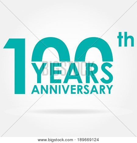 100 years anniversary icon. Template for celebration and congratulation design. Flat vector illustration of 100th anniversary label.