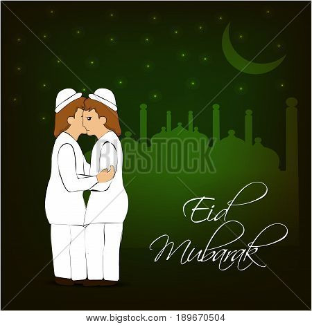 illustration of moon and two men embrace each other on muslim festival eid with eid mubarak text