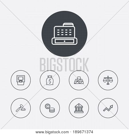 Set Of 9 Budget Outline Icons Set.Collection Of Coins, Justice, Atm And Other Elements.
