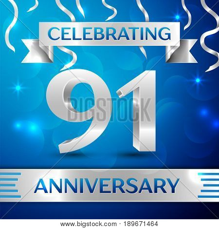 Ninety one Years Anniversary Celebration Design. Confetti and silver ribbon on blue background. Colorful Vector template elements for your birthday party. Anniversary ribbon