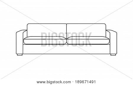 Sofa line icon. Furniture for living room. Outline illustration of modern sofa. Vector.