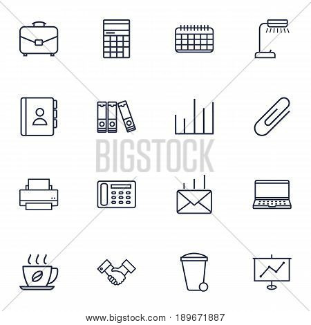 Set Of 16 Bureau Outline Icons Set.Collection Of Contacts, Partnership, Date And Other Elements.