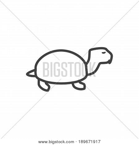 Isolted Tortoise Outline Symbol On Clean Background. Vector Turtle Element In Trendy Style.