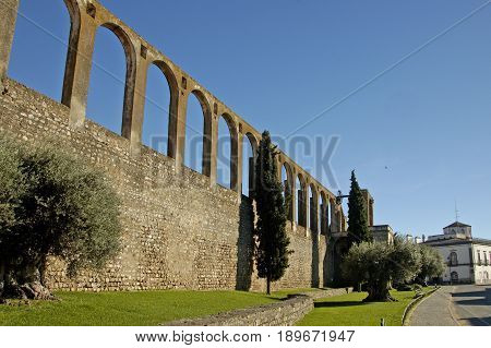 The ruins of an ancient aquaduct in Portugal.