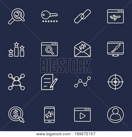 Set Of 16 Optimization Outline Icons Set.Collection Of SEO Test, Marketing, Web Design And Other Elements.