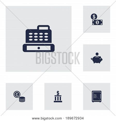 Set Of 6 Finance Icons Set.Collection Of Piggy Bank, Building, Cashbox And Other Elements.