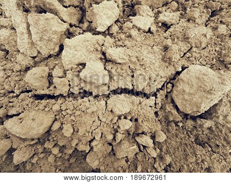 Dry Dusty Clay On The Field. Empty Plowed Field Waits For Sowing. Hot Spring Day In The Field