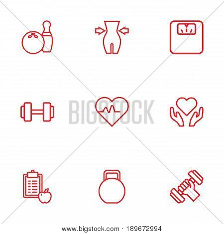 Set Of 9 Fitness Outline Icons Set.Collection Of Weight Loss, Kettlebells, Workout And Other Elements.