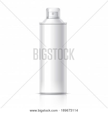 Realistic White Cosmetics bottle can Spray, Deodorant, Air Freshener. With lid. White black and gray colors. Object, shadow, and reflection on separate layers. Vector illustration