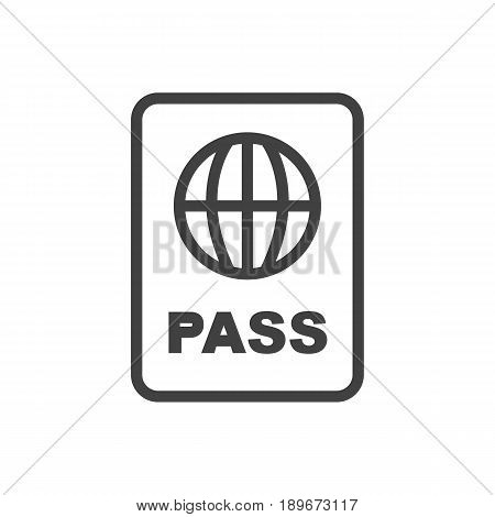 Isolted Passport Outline Symbol On Clean Background. Vector Certification Element In Trendy Style.