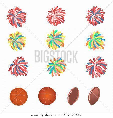Set of multicolored pom-poms. Basketball and football balls. Vector illustration.