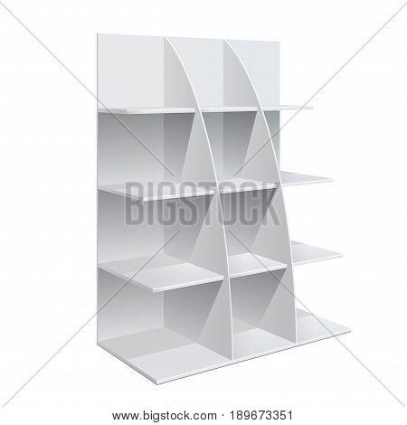Display Rack Shelves For Supermarket Floor Showcase on the white background. Slender white shelves. Mock Up Template. Vector illustration.