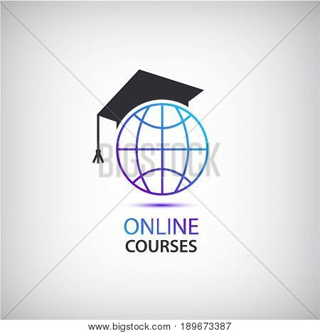 Vector internet learning, teaching, online courses logo, icon concept