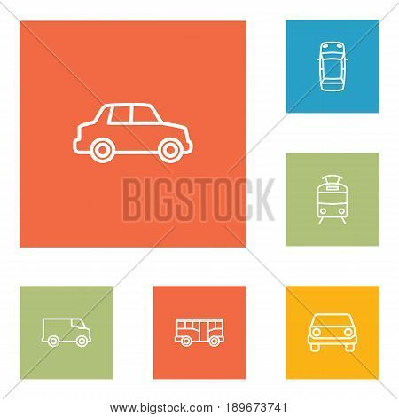 Set Of 6 Transport Outline Icons Set.Collection Of Bus, Car, Front View And Other Elements.