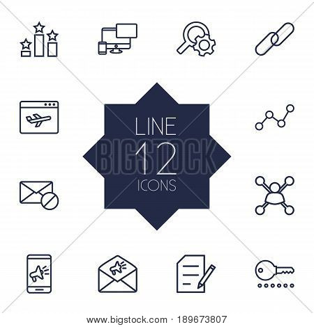Set Of 12 Optimization Outline Icons Set.Collection Of Style, Url, Block And Other Elements.
