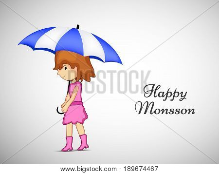 illustration of girl under umbrella with Happy Monsoon text