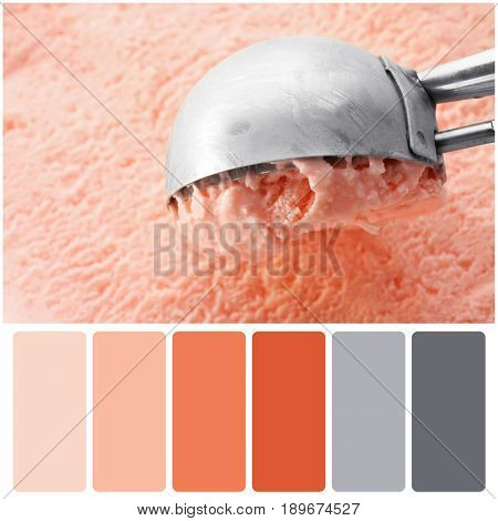 Apricot color matching palette. Scooping tasty ice cream, closeup