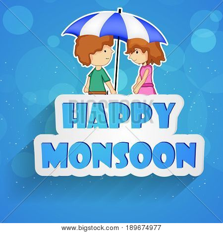 illustration of cute boy and girl under umbrella with Happy Monsoon text