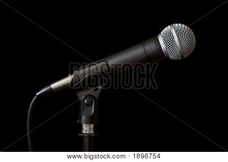 Vocal Microphone On Black Background