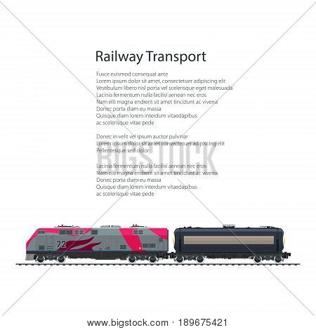 Brochure Locomotive with Railway Tank Car on Railway Platform Cargo Train Isolated on White Background and Text Cargo Land Transportation Poster Flyer Design Vector Illustration