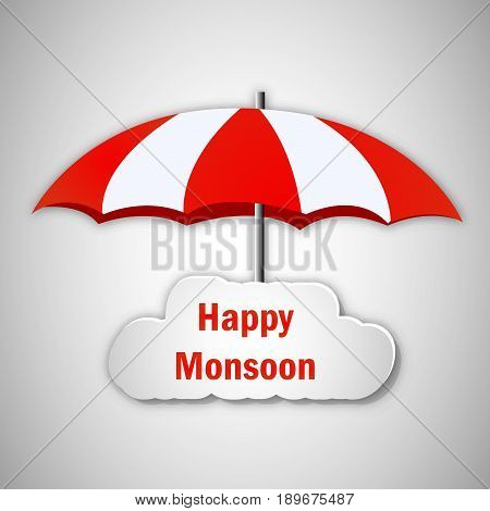 illustration of an umbrella with Happy Monsoon text