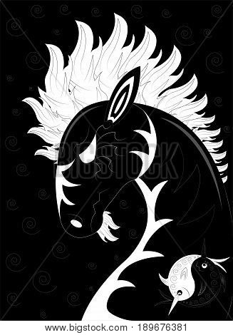 Horse with a white mane and a black body
