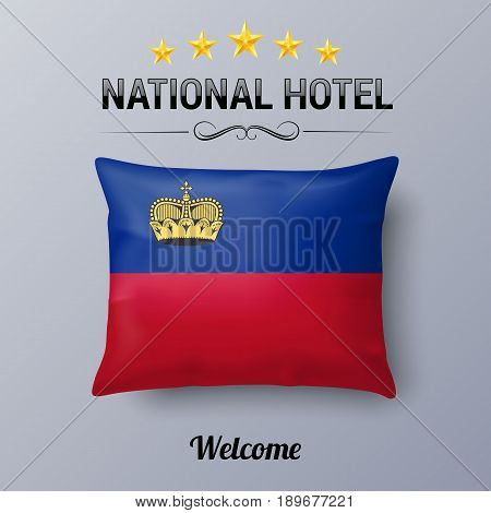 Realistic Pillow and Flag of Liechtenstein as Symbol National Hotel. Flag Pillow Cover with flag colors