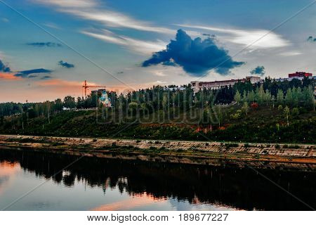 View of the city of Kirov in the evening at sunset