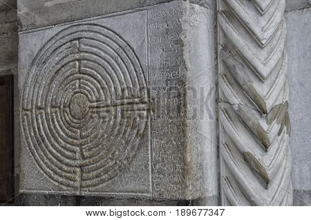 View of mysterious labyrinth carved in stone