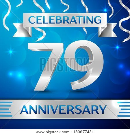 Seventy nine Years Anniversary Celebration Design. Confetti and silver ribbon on blue background. Colorful Vector template elements for your birthday party. Anniversary ribbon