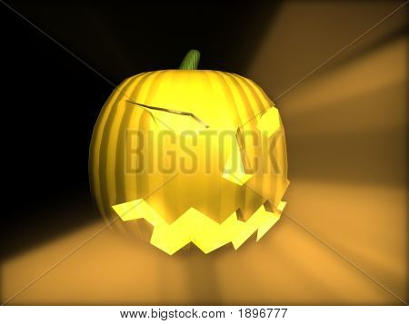 3D Pumpkin With Rays