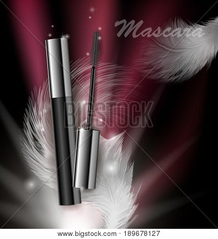 Cosmetics beauty series ads of premium mascara on a dark background Template for design posters placard logo presentation banners covers vector illustration.