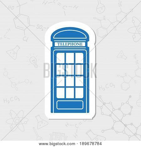 Vector flat sticker telephone box icon on white background