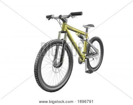 3D Mountain Bike Front View On White