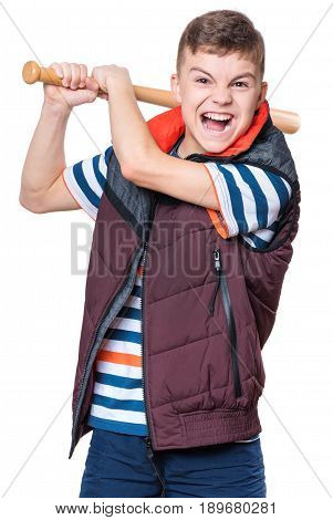 Portrait of a angry teen boy holding a baseball bat and screaming. Funny hooligan child looking at camera, isolated on white background.