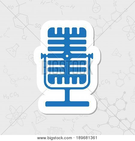 Vector flat sticker retro microphone icon on white background