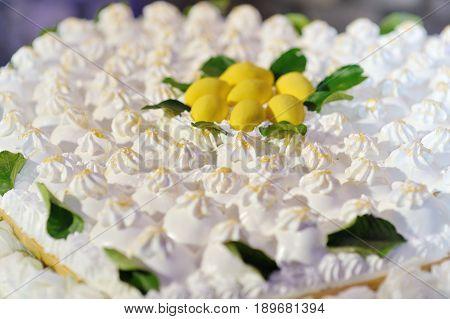 Beautiful creamy delicious white wedding lemon cake