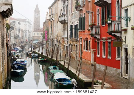 Venetian canal and buildings Venice Italy Europe