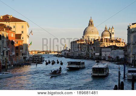 Venice Italy - scenic view of Canal Grande from Rialto bridge